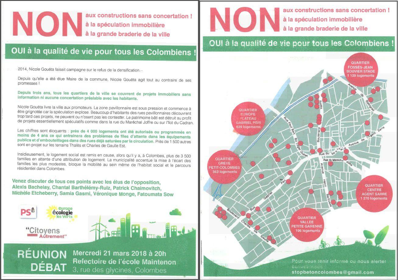 """Réunion Débat le 21 mars 20h Ecole Maintenon : """"constructions sans concertation"""" sur la ville de Colombes"""