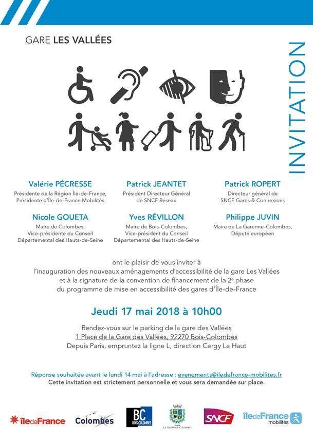 Inauguration Gare des Vallées & signature convention de financement Accessibilité des gares franciliennes - Jeudi 17 mai 10h