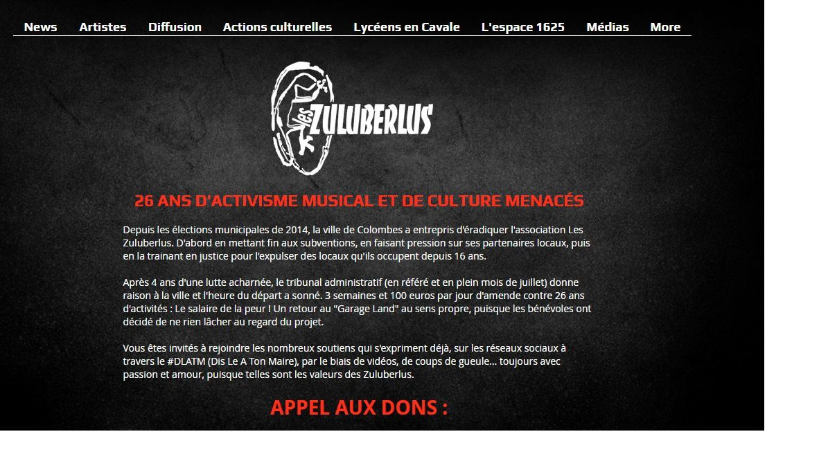 Appel aux Dons par l'association Les Zuluberlus de Colombes