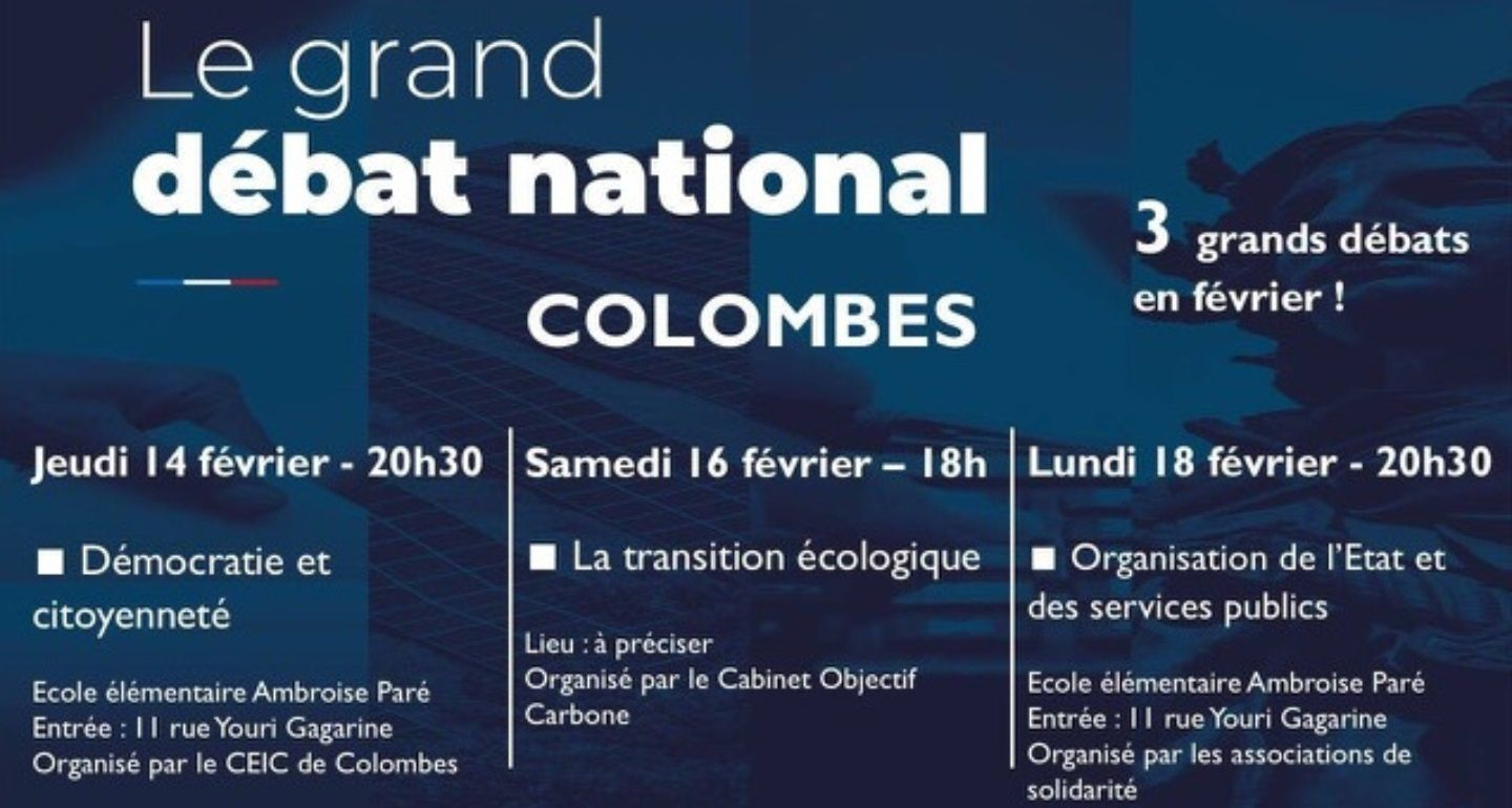 Le Grand Débat National sur Colombes : enfin quelques dates ...