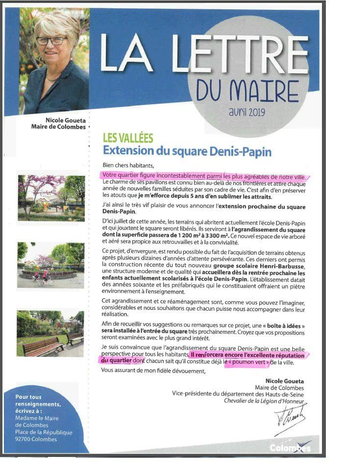 """Colombes : une bien étrange lettre de Madame Le Maire qui trouve qu'il y a des quartiers avec """"une excellente réputation"""" que les autres..."""