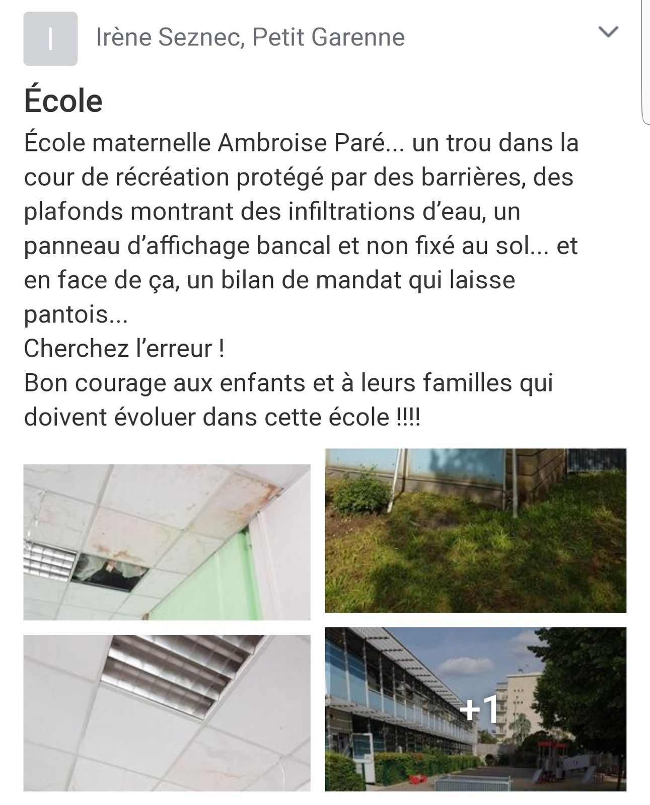 Colombes un bilan catastrophique sur les établissements gérés par la ville comme l' École maternelle Ambroise Paré