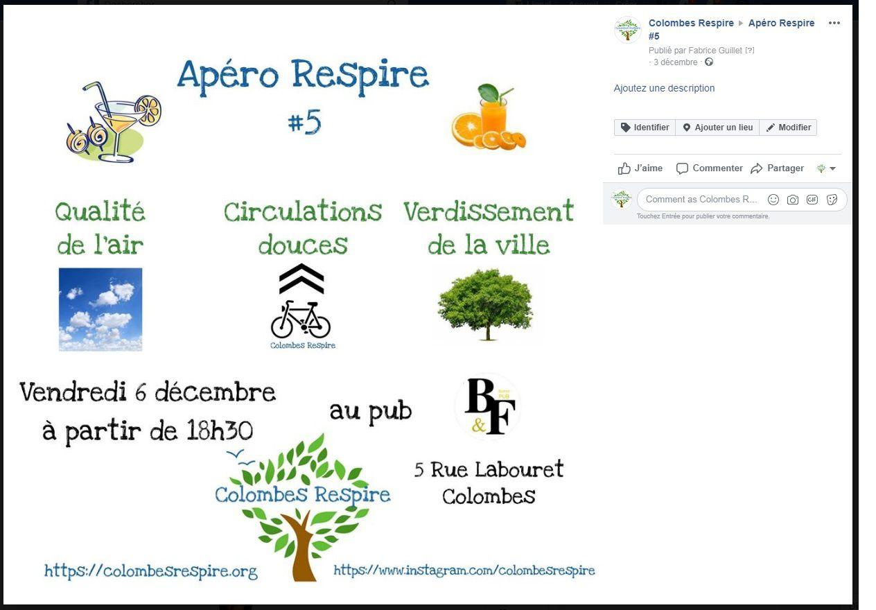 le 5eme Apéro Respire ouvert au public : vendredi 6 décembre 18h30 O'PUB Colombes 5 rue Labouret