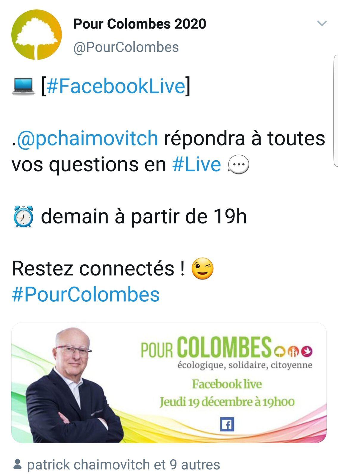 Facebook live jeudi 19 à 19h avec la tête de liste Ecologiste et du Rassemblement de la Gauche pour l'élection Municipale à Colombes