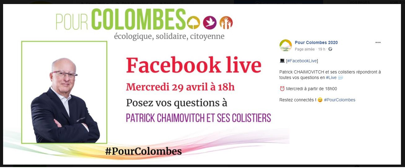 Patrick CHAIMOVITCH en direct Facebook Live Mercredi 29 avril 18h #PourColombes