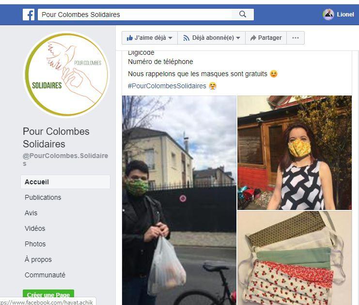 Colombes : distribution de masque gratuit par l'atelier Fée à deux mains et Pour Colombes Solidaires