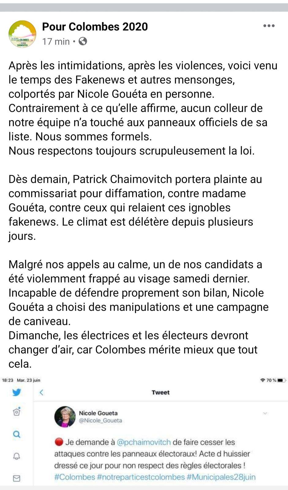 Dépôt de plainte en diffamation contre Nicole GOUETA par la liste #PourColombes et Patrick CHAIMOVITCH