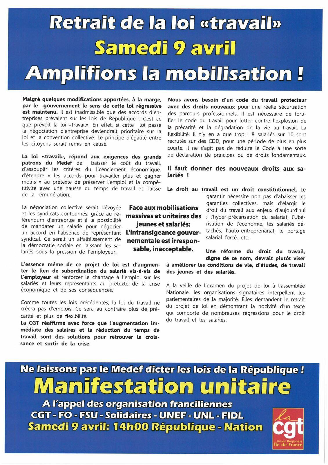 La CGT Korian appelle à la journée d'action du 9 avril.