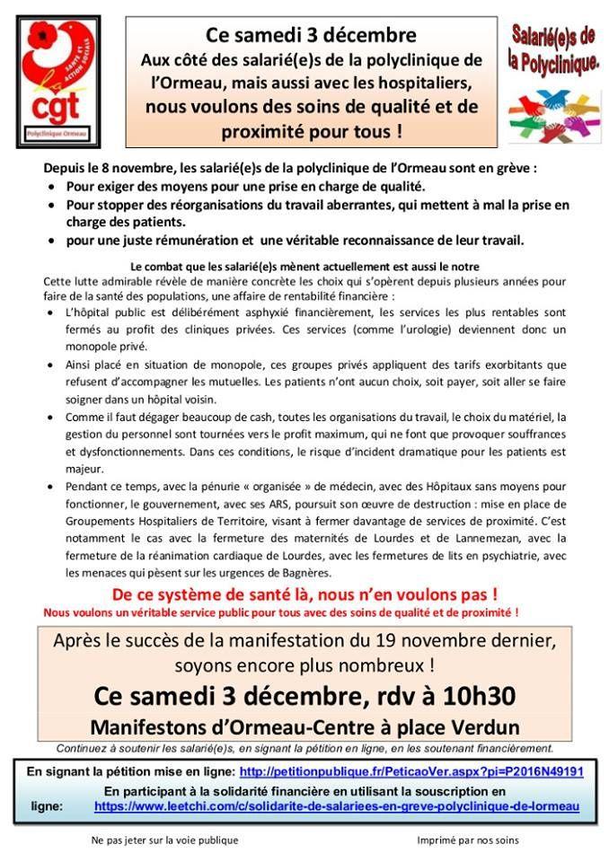 Cgt Hautes Pyrénées: Polyclinique ORMEAU - 26e jour de grève : 1800 manifestants aux côté des salariés(es) de la Polyclinique de l'Ormeau!!