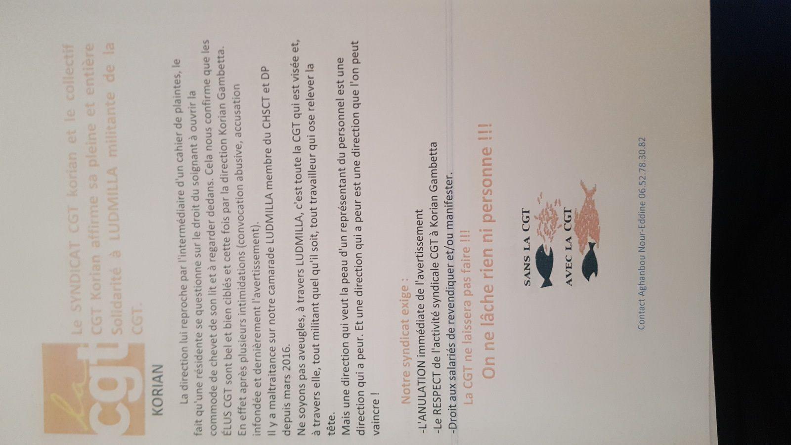 Tract de soutien de notre camarade Ludmilla DP Korian Gambetta Lille.