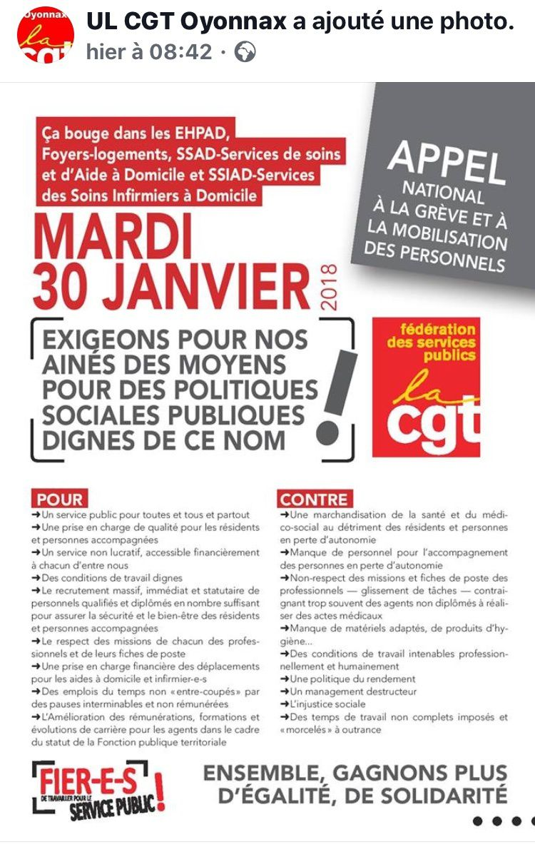 Ça bouge dans les EHPAD pour le 30 janvier(2): On lâche rien version EHPAD. UD CGT du Rhône. CGT CHU Angers hôpital. CéGéTé Sicas. CGT 04. UD CGT Gard. UL CGT Oyonnax. CD CGT Dordogne. USD CDT Aveyron.