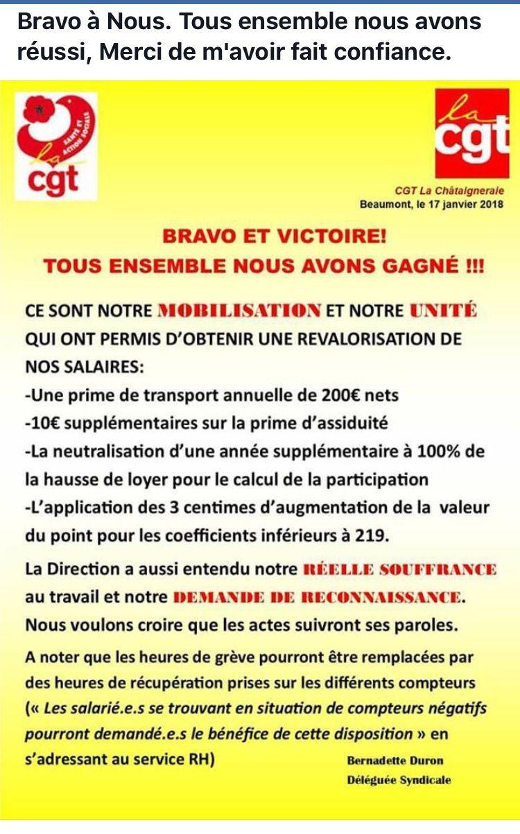 Fin de la grève à l'hôpital privé la Châtaigneraie de Beaumont ,Puy-de-Dôme.