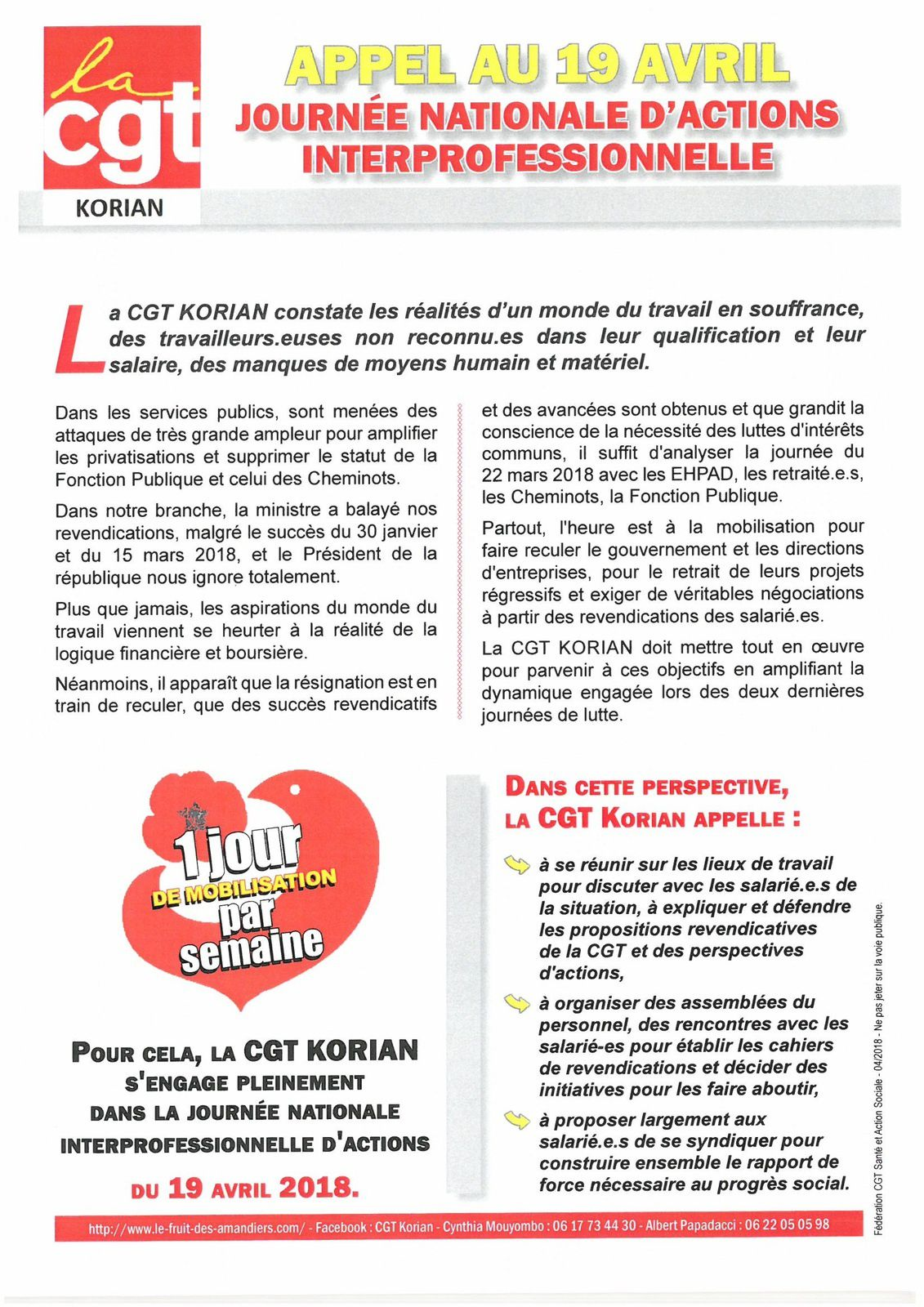 Tract CGT KORIAN appel au 19 avril.