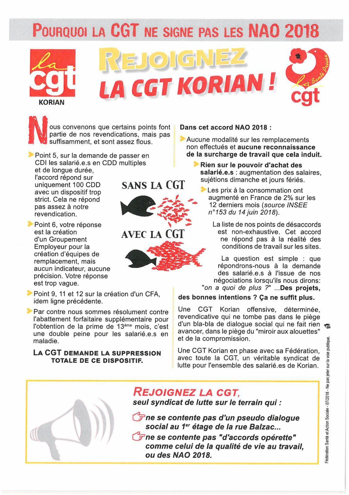 Tract CGT Korian à afficher et à distribuer.