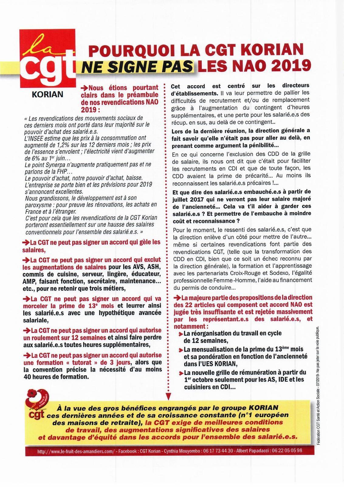 Tract Korian NAO 2019 à afficher et à distribuer.