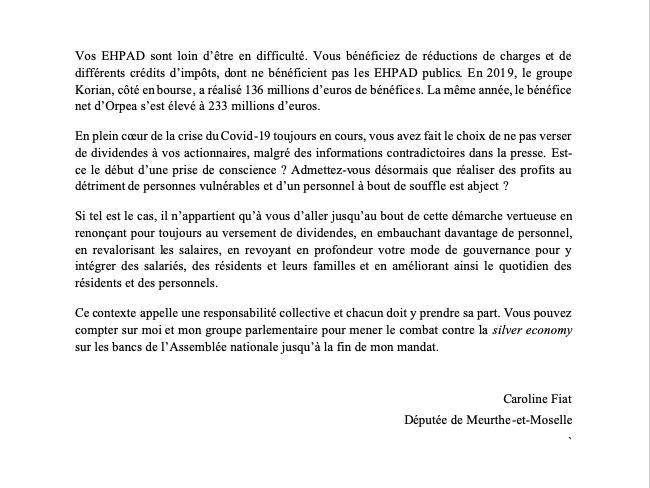 La députée Caroline Fiat écrit aux directions de Korian et d'Orpea.