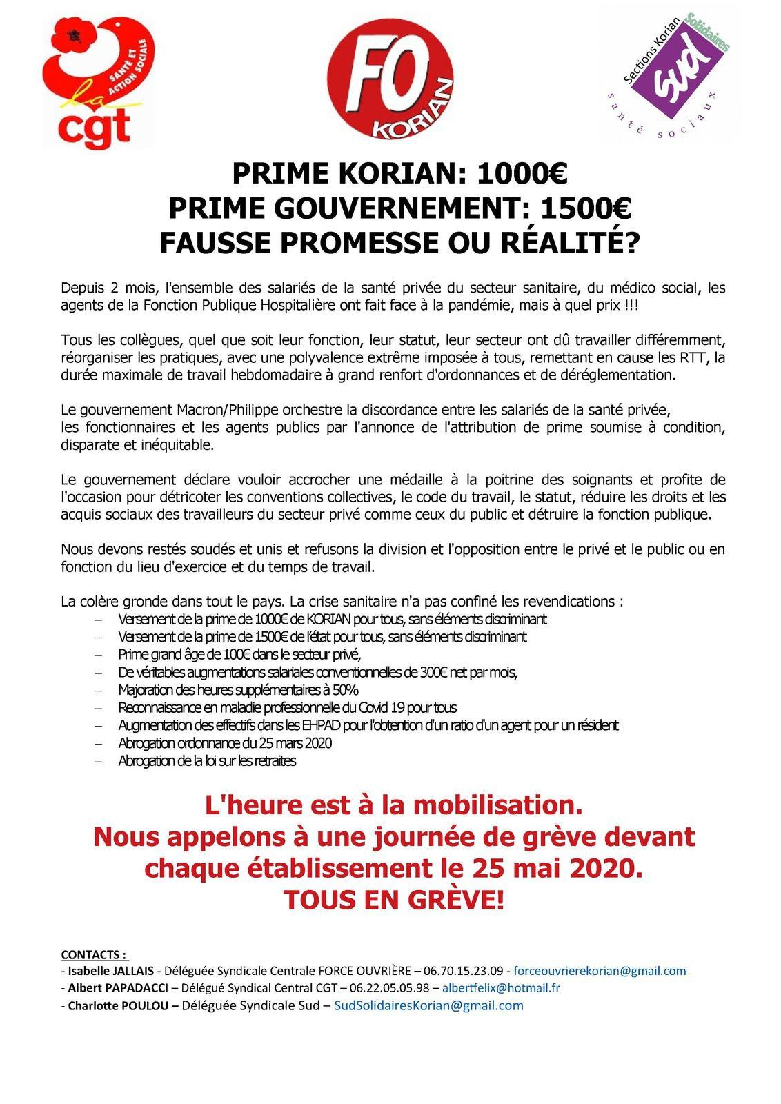 Communiqué FO/CGT/SUD Korian: PRIME KORIAN: 1000€ ,PRIME GOUVERNEMENT: 1500€, FAUSSE PROMESSE OU RÉALITÉ?