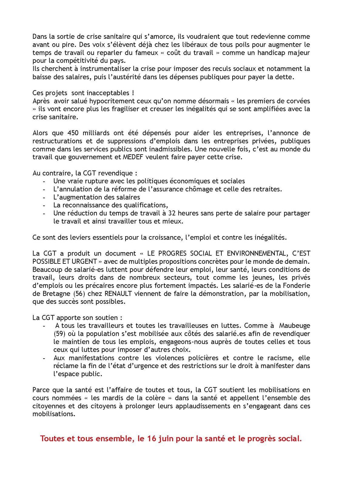 Appel Comité Confédéral National de la CGT: LA SANTE, c'est l'affaire de toutes et tous. Mobilisons-nous ensemble le 16 juin !!