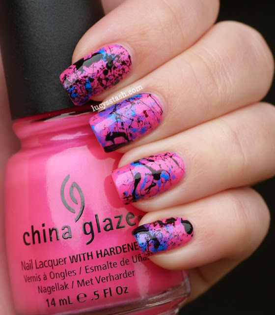 Hot pink splatter manicure featurich China Glaze and A England