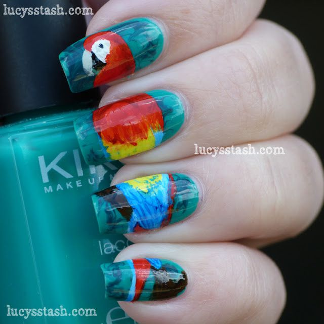 Parrot nail art manicure - Scarlet Macaw in the jungle