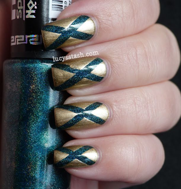 Gold and holographic teal Diagonals tape manicure featuring Hits and China Glaze