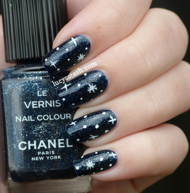 Chanel Night Sky, nail art stars Underneath the stars