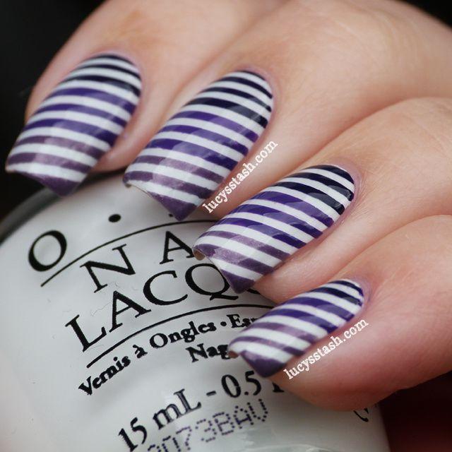 Lucy's Stash - Gradient purple stripes nail art