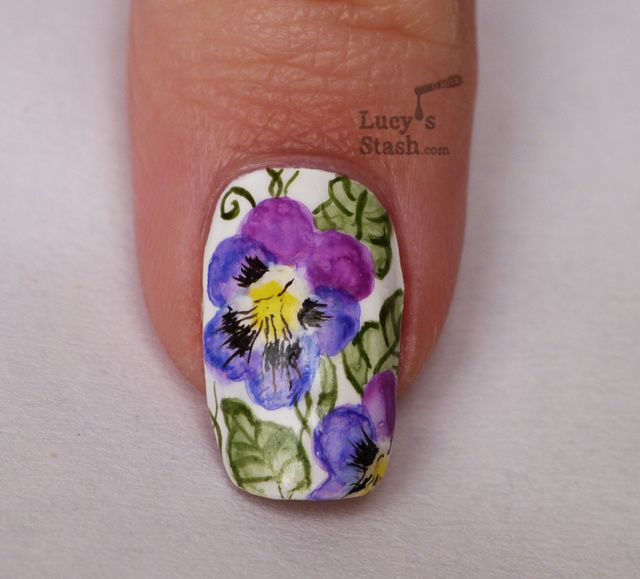 Lucy's Stash - Watercolour Pansy Violet Flowers