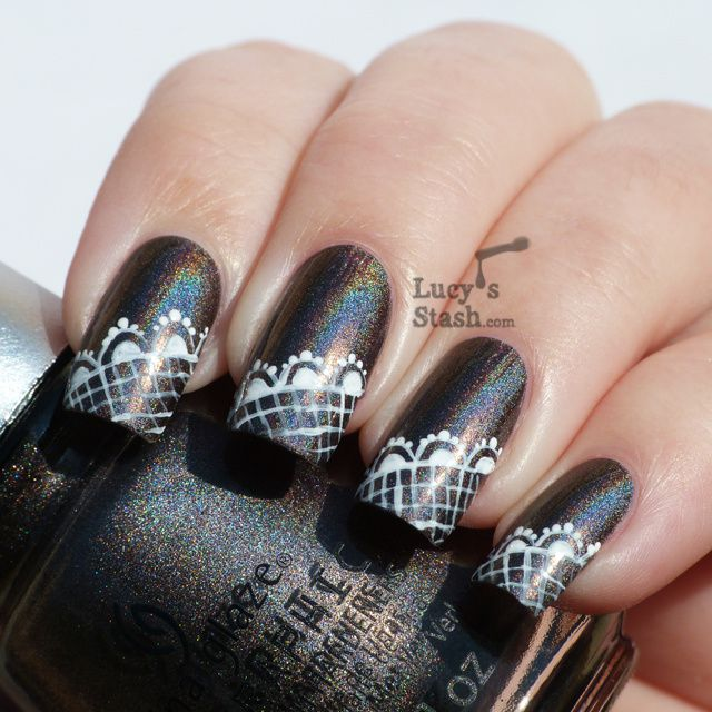 Lucy's Stash - China Glaze Galactic Gray lace nails