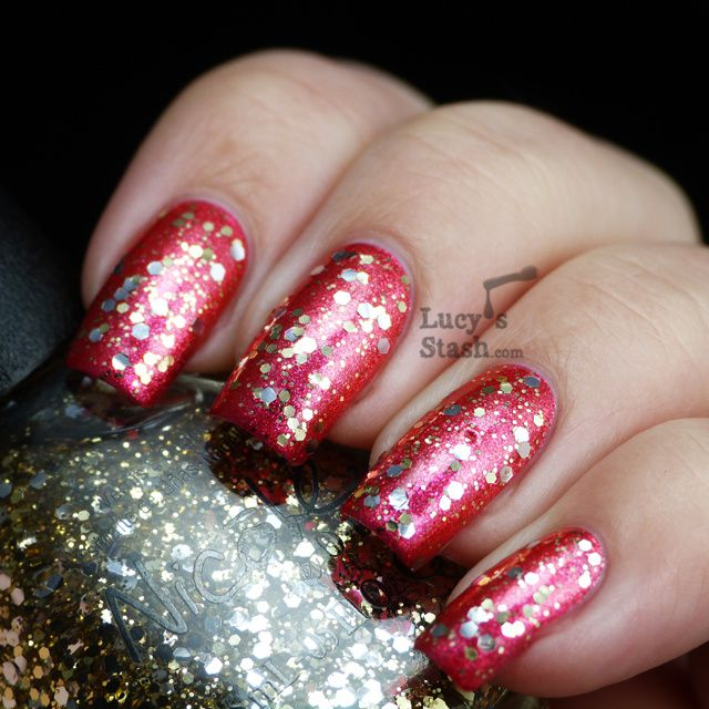 Lucy's Stash - Nicole By OPI Kissed At Midnight over Scarlett