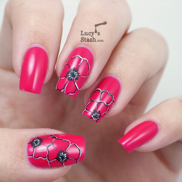 Lucy's Stash - Poppies nail art