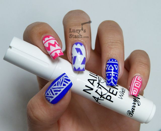Lucy's Stash - White tribal nail art using Barry M Nail Art Pen White and Nicole By OPI mini neons