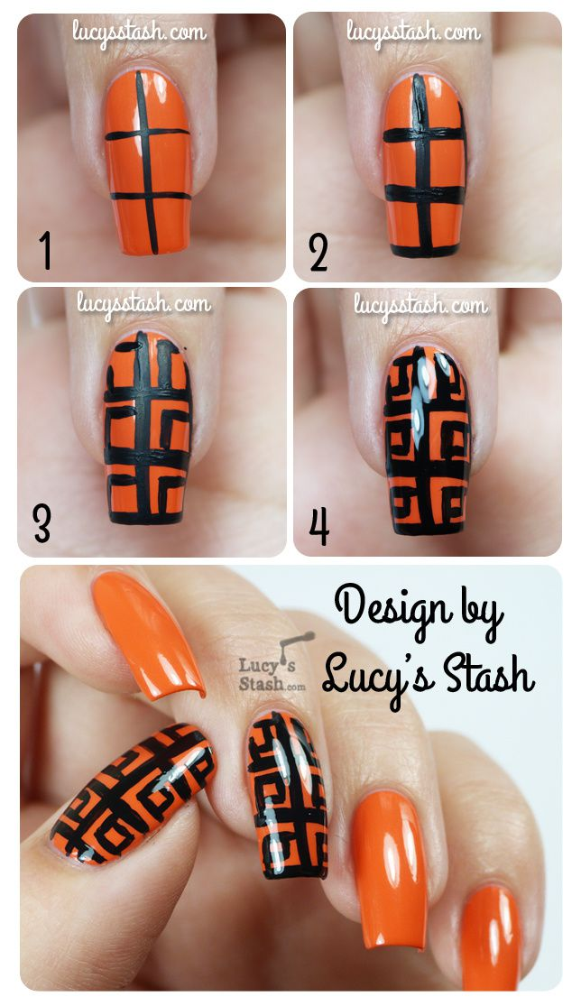 Lucy's Stash - Patterned Zoya Thandie nails with tutorial :)