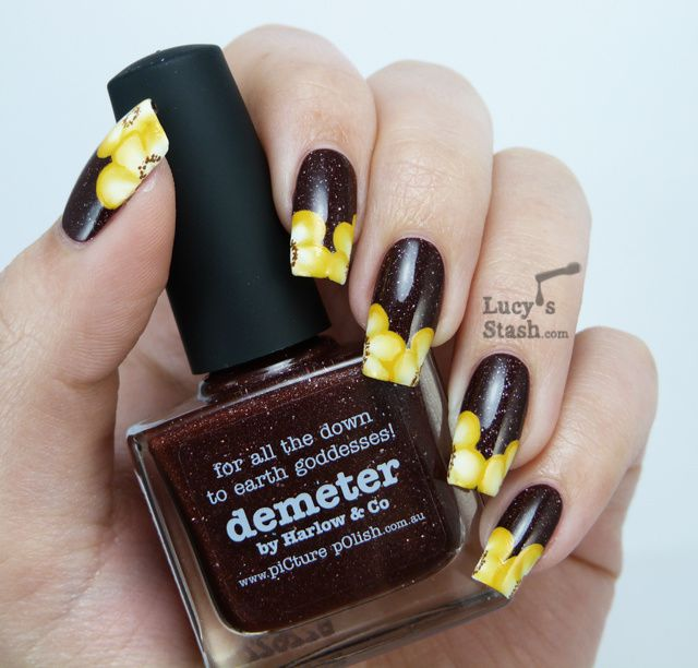 Floral one stroke nail art featuring piCture pOlish Demeter