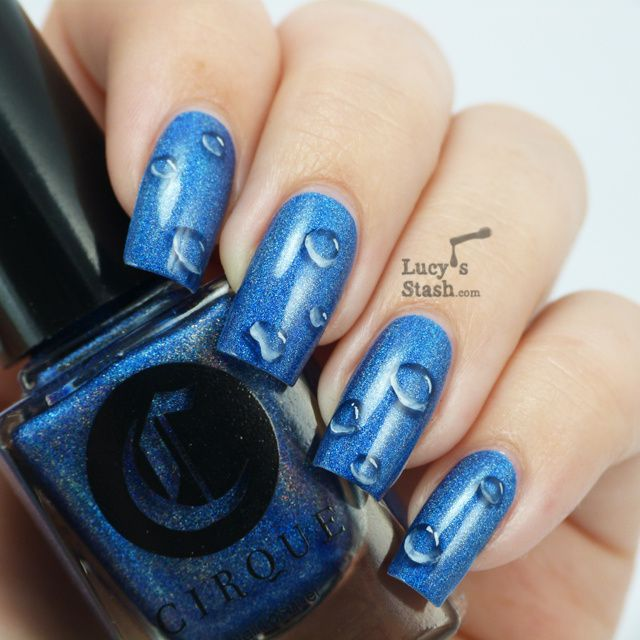 One Stroke Waterdrops Nail art over Cirque Bejeweled + Tutorial