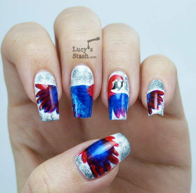 A Macaw Nail Art featuring piCture pOlish Heavy Metal, Vegas and Bombshell