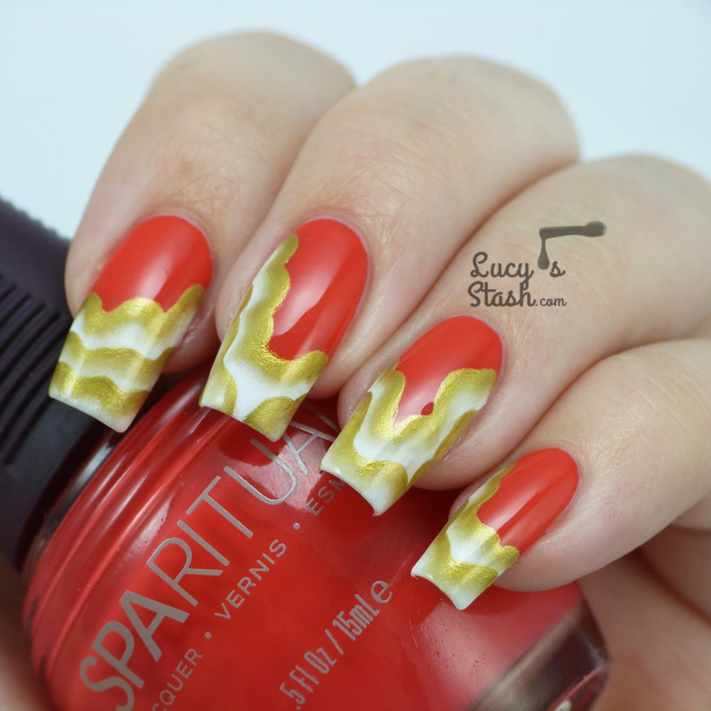 Golden Veil - One Stroke Nail Art Design over SpaRitual Last Tango