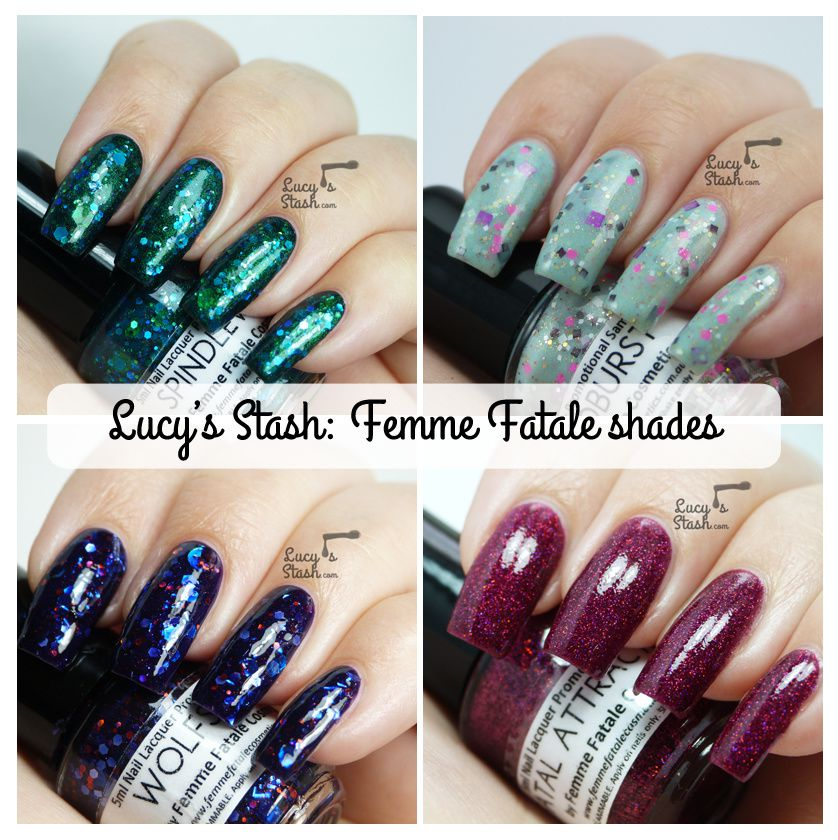 Review & swatches of 4 Femme Fatale shades! Fatal Attraction, Wolfsbane, Cloudburst & Spindleweb