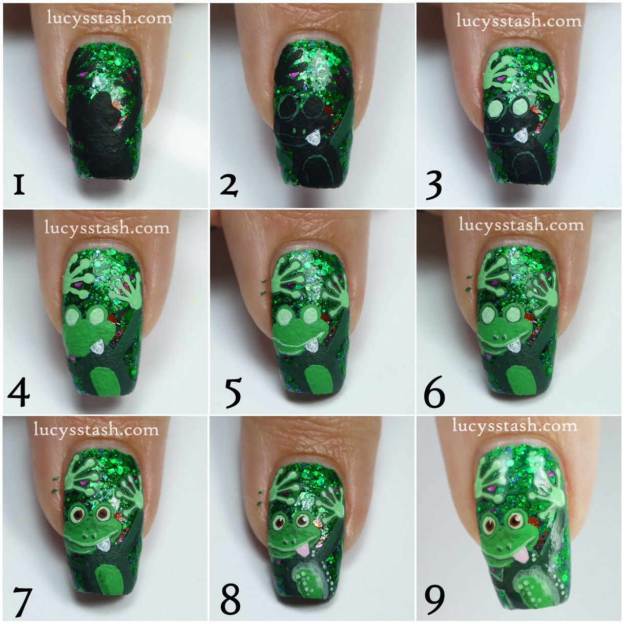 Cheeky Frog Nail Art Design feat. Femme Fatale Noble Garden