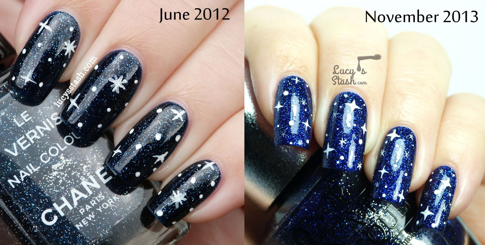 Starry Sky Nail Art over OPI DS Lapis (plus a nailart comparison)