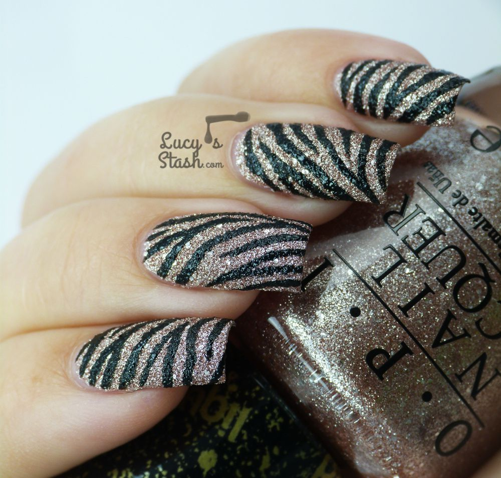Textured Zebra Print Nail Art Design