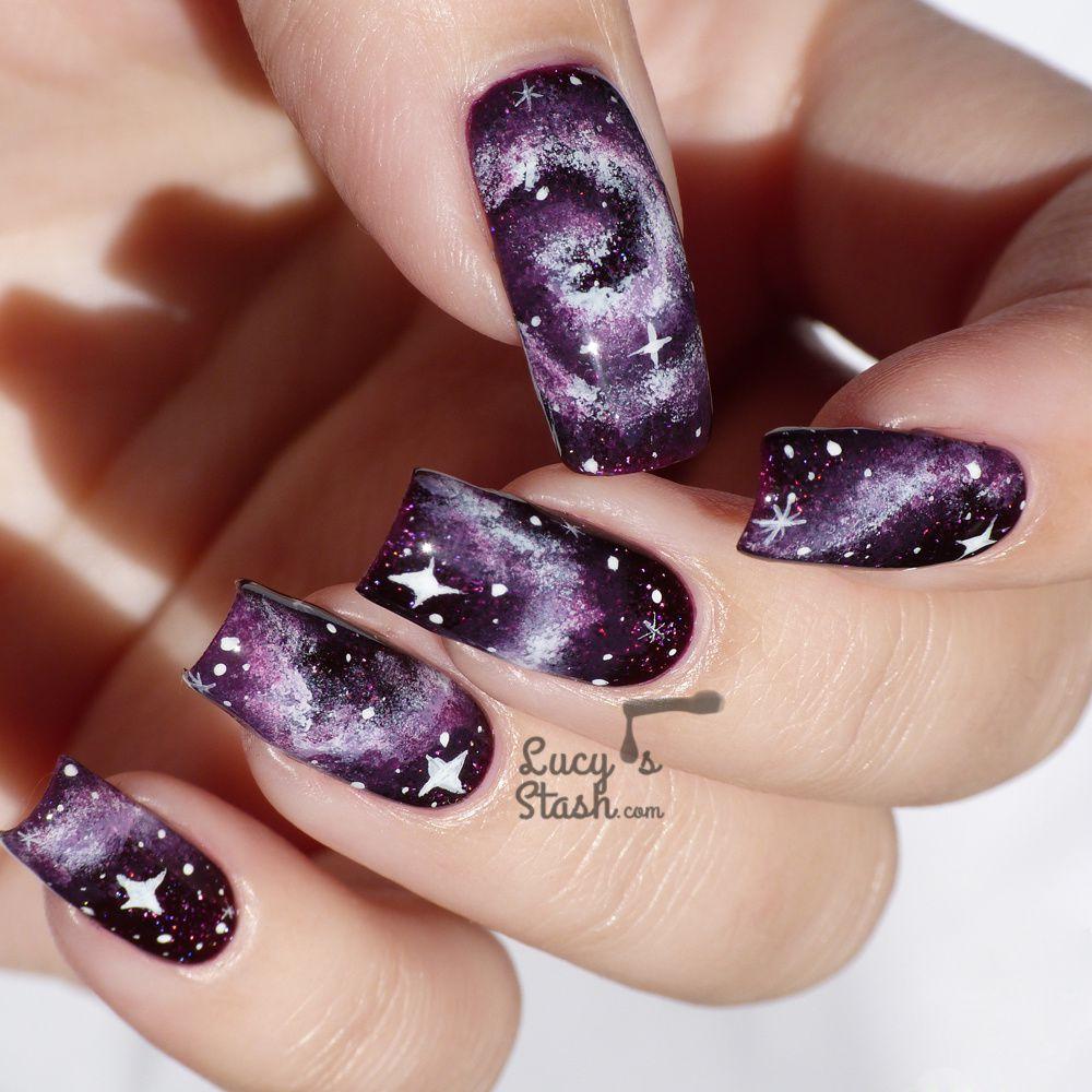 Purple Galaxy Nails with TUTORIAL feat. Zoya Payton