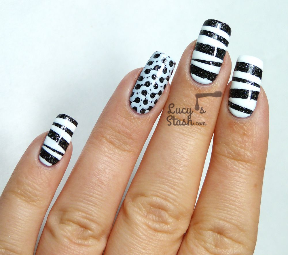 'Tape & Stamp' Monochrome Nail Art withTutorial