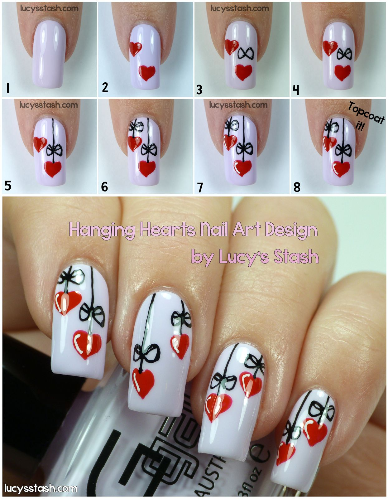 Hanging Hearts - Valentine's Day manicure with Tutorial