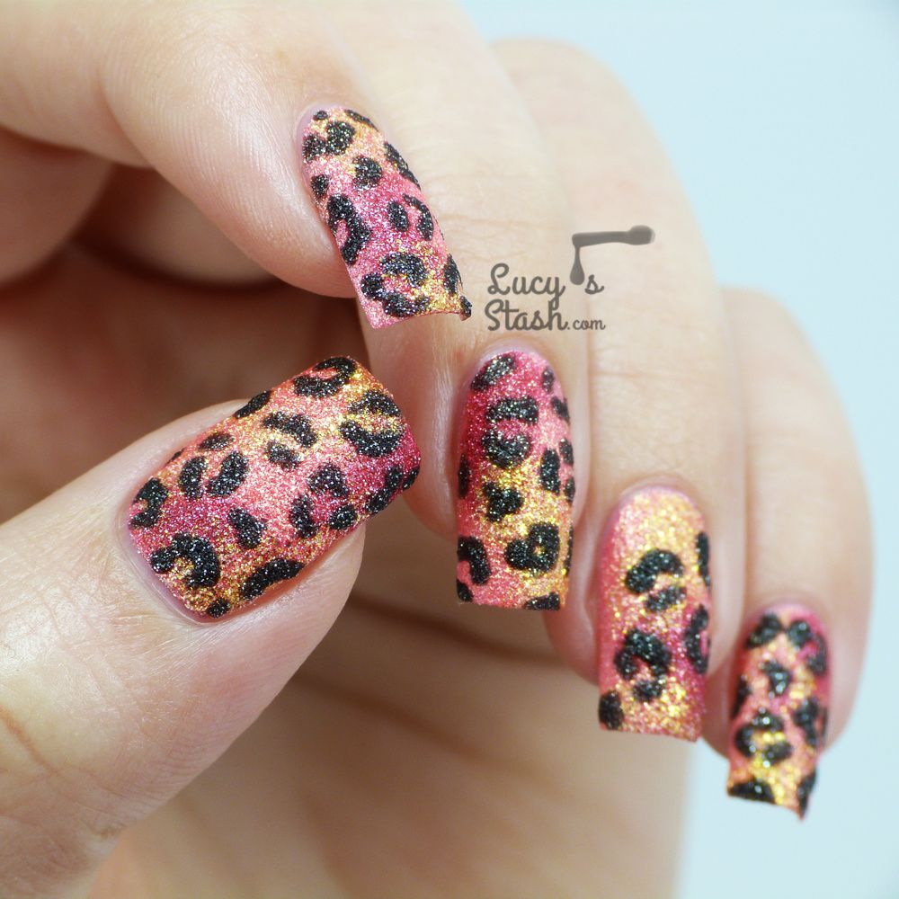 Tropical Leopard Print Textured Nail Art