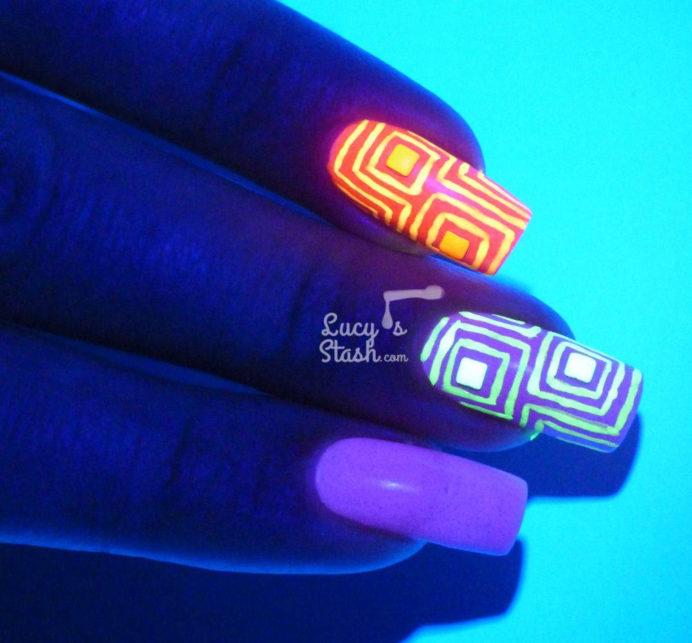 Studded Black Light Nail Art feat. Glam Polish