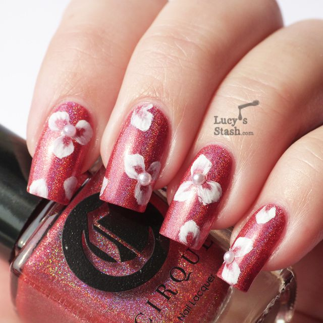 White One Stroke Three-petal Floral Design with TUTORIAL