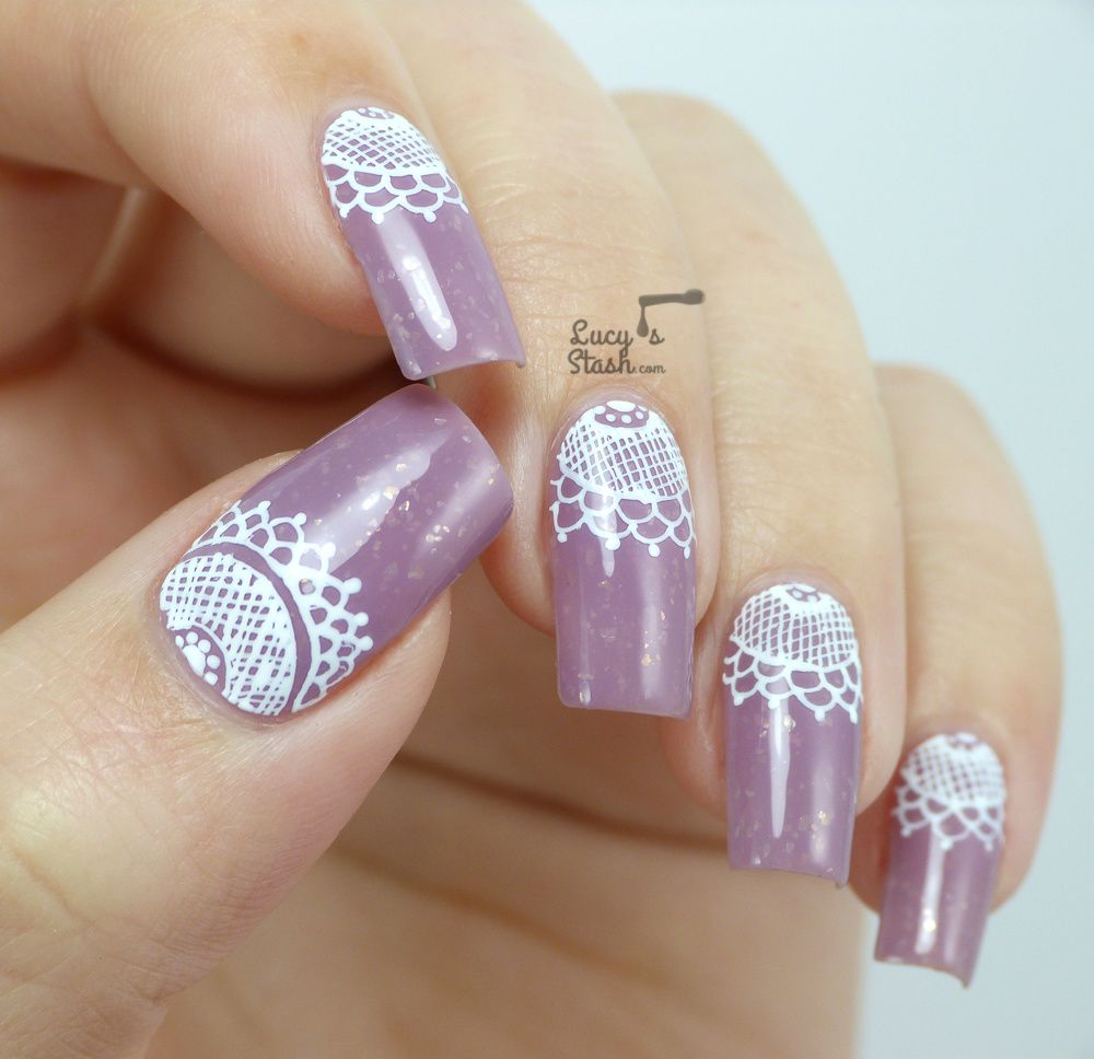 Lace Half Moon Nail Art with TUTORIAL