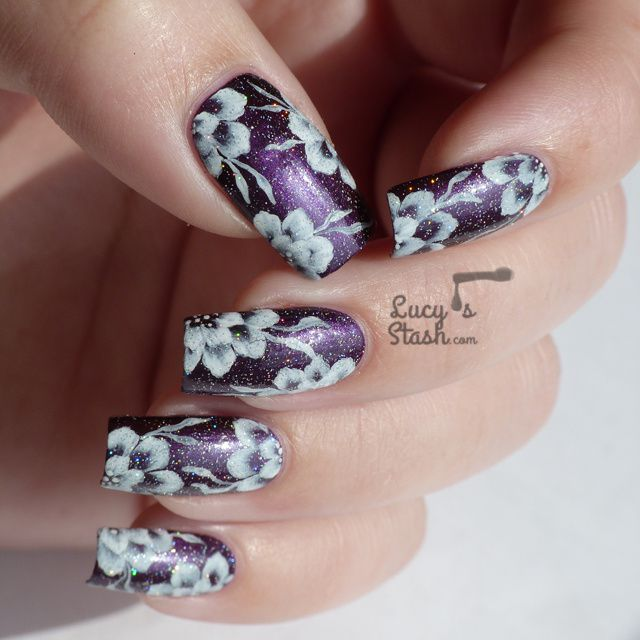 One Colour One Stroke Floral Nail Art with Tutorial