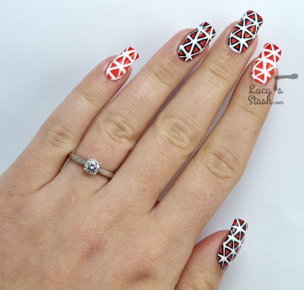 Cool Geometric Pattern Nail Art I won't do again!